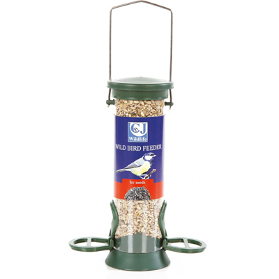 CJ Plastic Seed Feeder (Green) 2 Perches